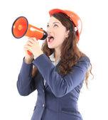 Fotografie die schönen Business-Frau schreit der Ingenieur in der Shoutbox auf einem weißen