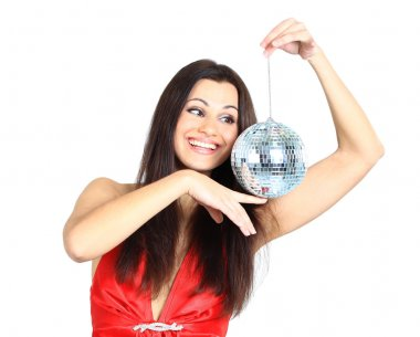 Attractive young beautiful woman with disco ball