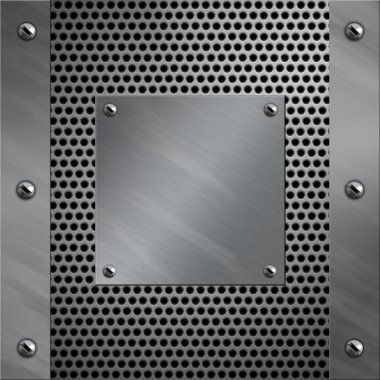 Brushed aluminum frame and plate bolted to a perforated metal background
