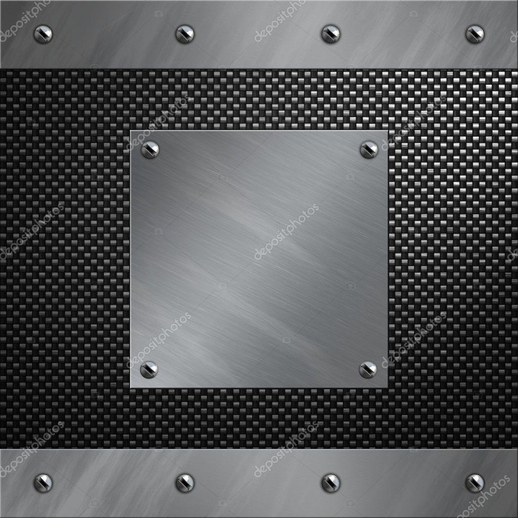 marco de aluminio cepillado y placa atornillada a un fondo de fibra ...