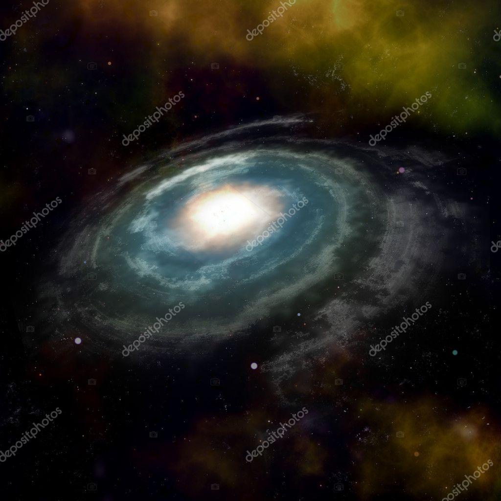 Blue spiral galaxy against black space