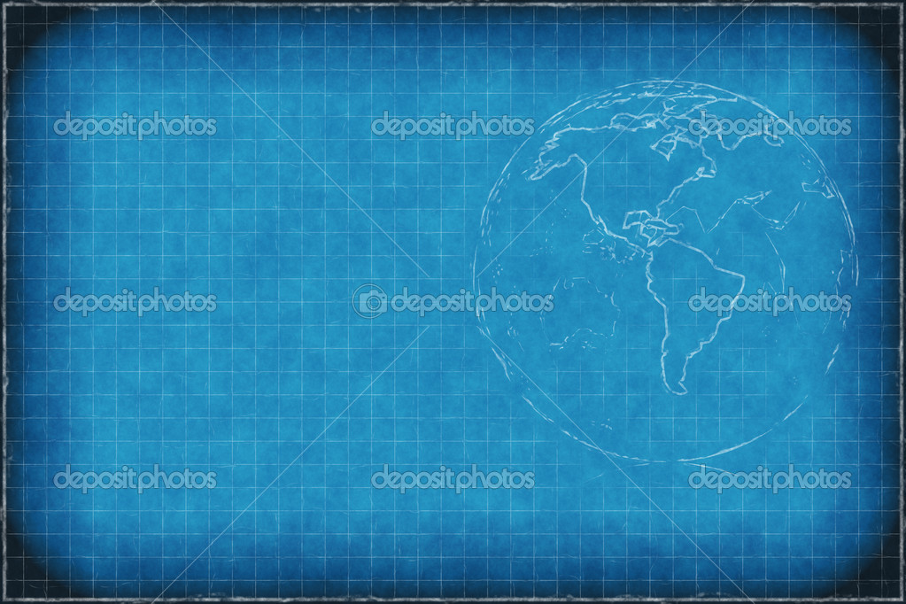 blue chalkboard background with earth stock photo attila445 9297387