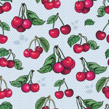 Seamless texture - bright cherry fruit vector