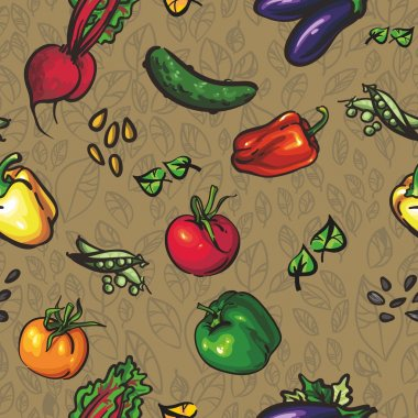 Seamless texture of Vegetables and leaves