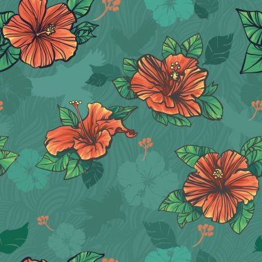 Seamless pattern with green red hibiscus flowers