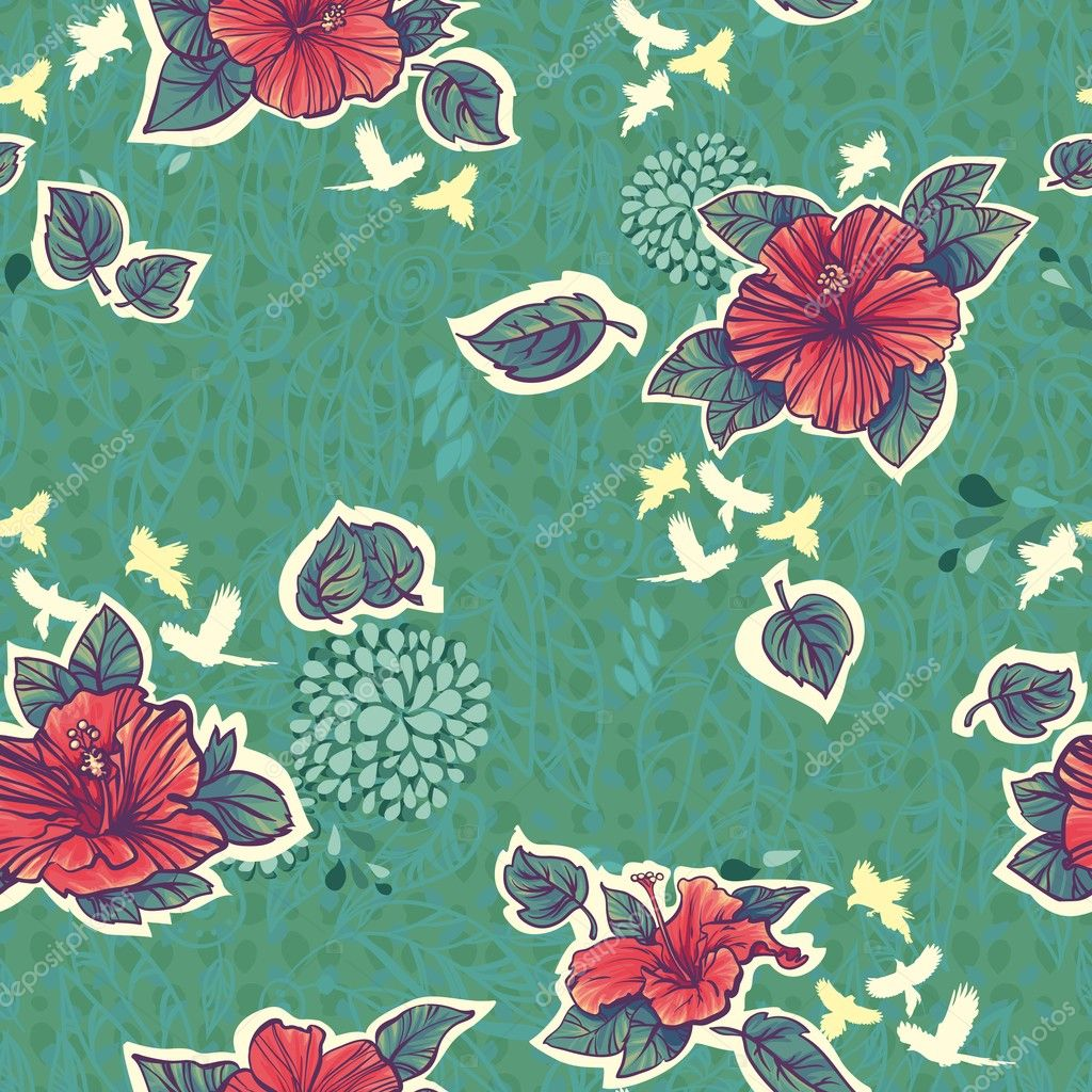 Seamless pattern with green red hibiscus flowers and birds