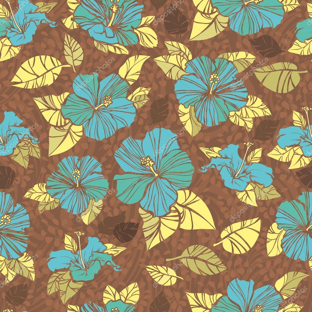 Retro brown seamless pattern with flowers of hibiscus