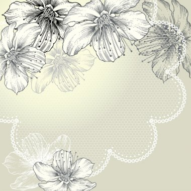 Floral background with vintage lace and flowers, hand-drawing. Vector.