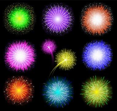 Set of festive colored fireworks on black background. Vector illustration.