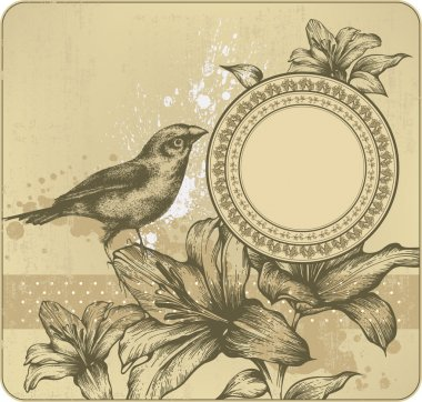 Vintage background with frame, blooming lilies and birds. Hand drawing. Vec