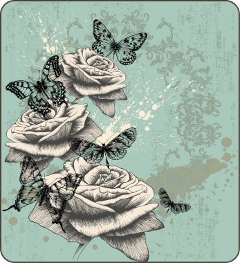 Vintage background with blooming with roses and butterflies, hand-drawing.