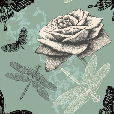 Seamless pattern with rose, decorative butterflies and dragonflies. Hand dr