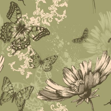 Seamless floral background with flying butterflies, hand-drawing. Vector.