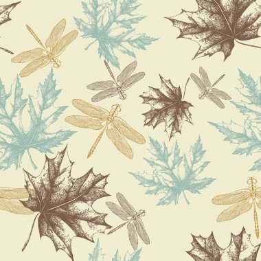 Seamless pattern of autumn, maple leaves and a dragonfly, hand-drawing. Vec