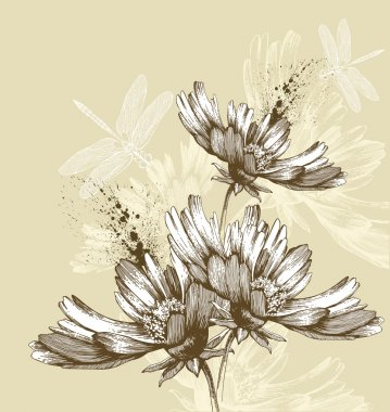 Abstract blooming flowers flying dragonflies, hand-drawing. Vector illustra