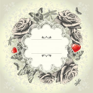 Glamorous lace frame with blooming roses, flying butterflies, red heart. Ha