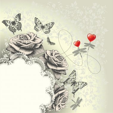 Glamour background with lacy frame, red hearts, flying butterflies, dragonf