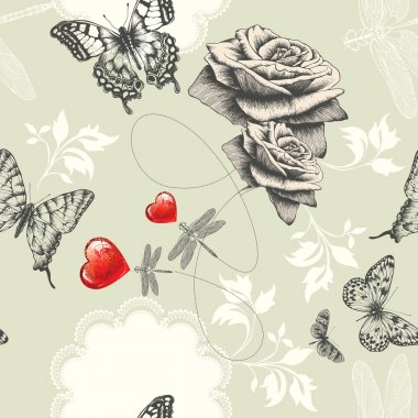 Seamless wallpaper with roses, butterflies and red hearts, Hand drawing. Ve
