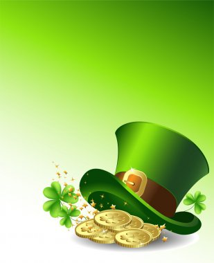 Background to the St. Patrick's Day with a green hat and gold coins. Vector.