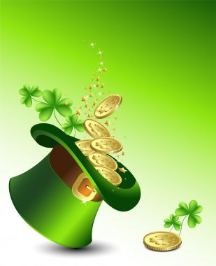 Background to the St. Patrick's Day with a green hat with gold coins, and clover. Vector.