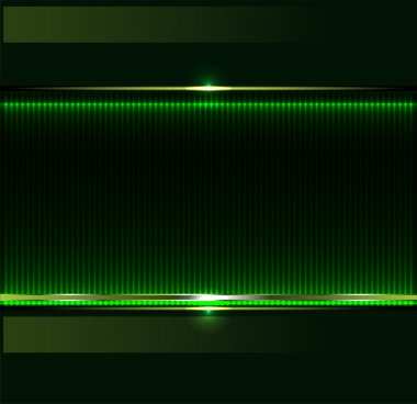 Green technology background with metallic banner. vector