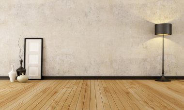 Empty room with hardwood floor and old wall - rendering stock vector