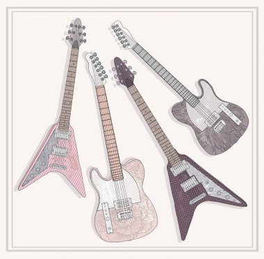 Electric and bass guitars set. Cute guitars with floral pattern.
