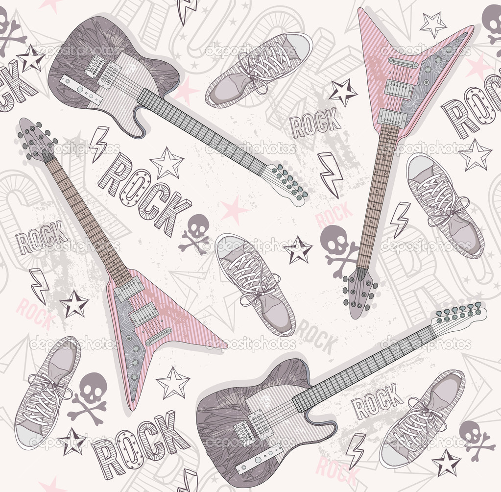 Cute grunge abstract pattern. Seamless pattern with guitars, sho