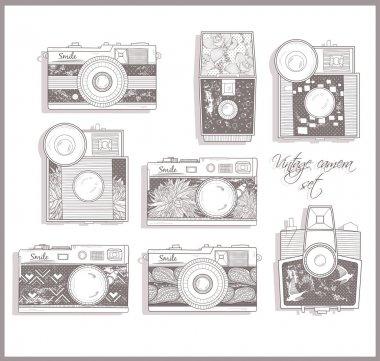 Retro photo cameras set. Vintage cameras.
