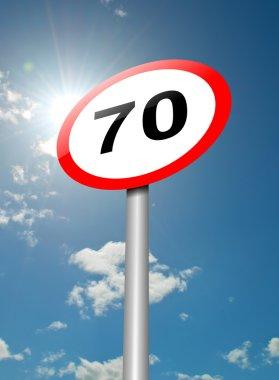 Speed limit sign.