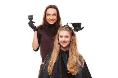 Studio picture of hairdresser doing hair dye. isolated on white stock vector