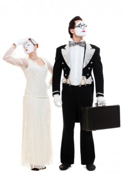 Portrait of two artistic mimes