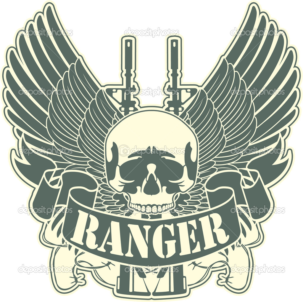 The vector image of color Emblem with a skull and the weapon stock vector