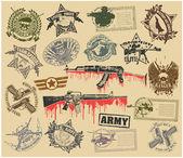 Satz von Briefmarken von militärischen Symbolen