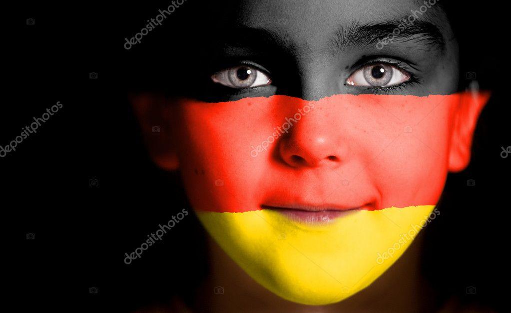 Almanya Bayrağı Ile Boya çocuk Yüz Stok Foto Tpabma2 9055096
