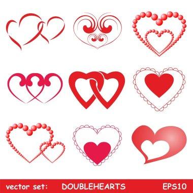 Double hearts set