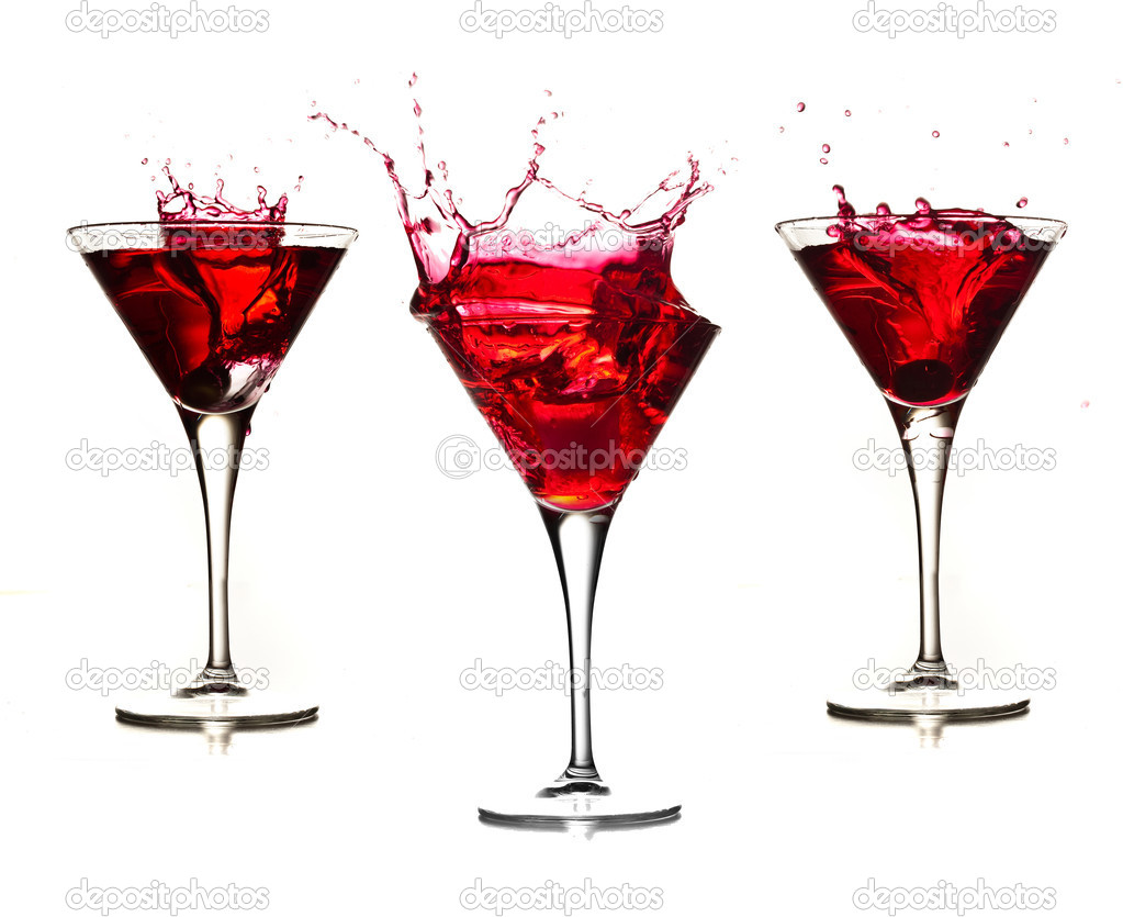 Red cocktail splash