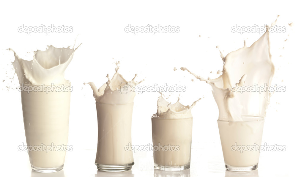 Fresh milk splashing on a glass on white background collection
