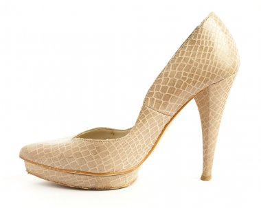 Beige high heeled shoe
