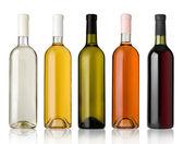 sada lahví vína bílé, růžové a červené