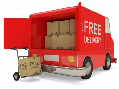Delivery Van and Hand truck with a box on white background (Free Delivery Concept)