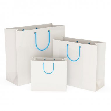 White Shopping Bags isolated on white background