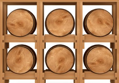3d shelf with six wooden barrels on white background