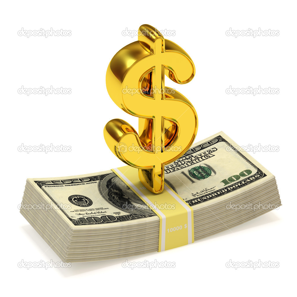 Dollar Sign and bundle of money isolated on white background