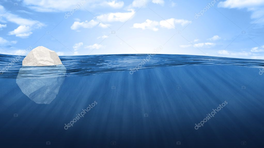 Abstract Illustration of Iceberg in the ocean under water