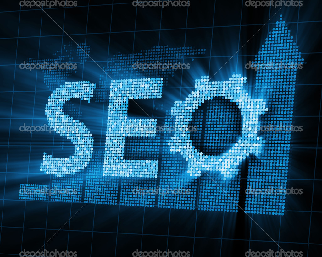Abstract Background of SEO - Search Engine Optimization Symbol with Glowing Rays