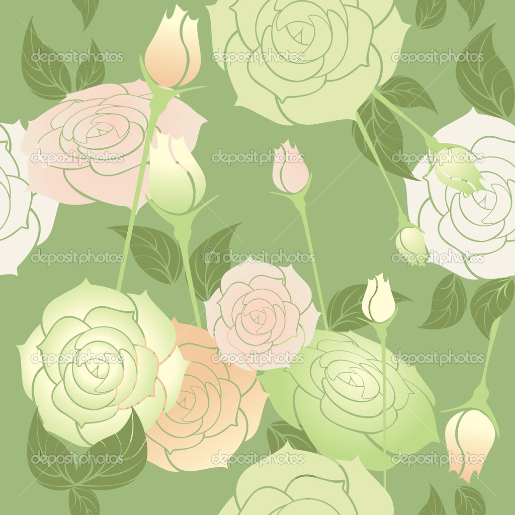 Roses seamless pattern pastel color