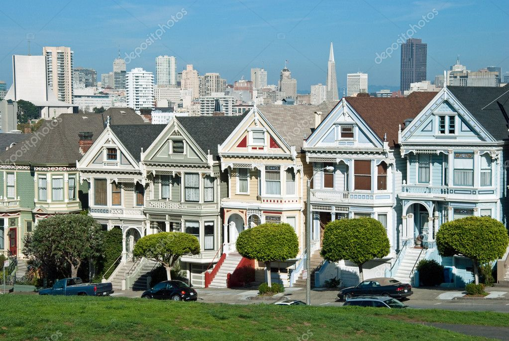 alamo square in san francisco mit viktorianischen h usern. Black Bedroom Furniture Sets. Home Design Ideas