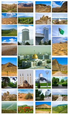 Collage of photos from the set of Turkmenistan Ashgabat