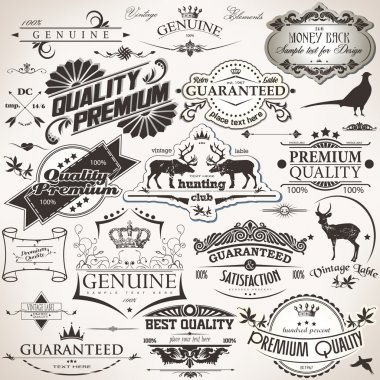 Set of vintage design elements clip art vector